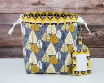 Autumn Sock Knitting Bag, Knitting Project Bag, Drawstring Bag, Small Project Bag, Crochet Bag,