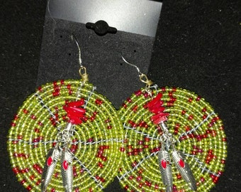 Green Seed Bead Feather Earrings