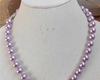 CLEARANCE *10MM Violet Pearl Necklace and Bracelet Set