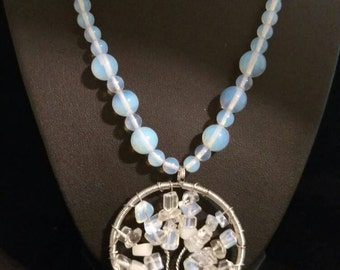 Opalite Tree of Life Beaded Necklace