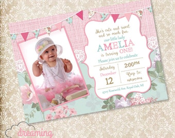 Girly Chic Birthday Invitation with Lace, Banner, and Photo