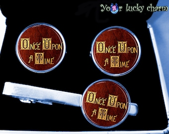 husband gift Once Upon A Time, fairy tale, EVIL QUEEN, Fairy, for her, for him, set cufflinks tie clip wedding