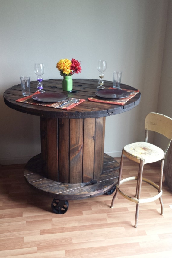 Reclaimed wood cable spool pub dining table bar by for Repurposed kitchen table