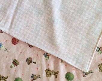 Vintaged inspired reversible baby blanket for girl