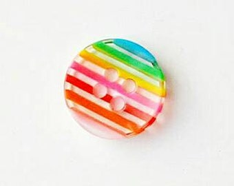 Pack of 20, Rainbow pink and clear resin buttons,  12mm, scrapbooking, craft projects, sewing buttons, rainbow theme