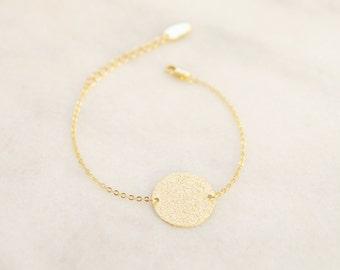Sandblasted Disc Bracelet - Geometric Round Charm Bracelet - Minimalist and Dainty Bracelet  -  Simple Bracelet
