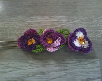violet hair flowers-violet hair barrette-violet hair clip-violet flower crochet-support 6-8-10 cm