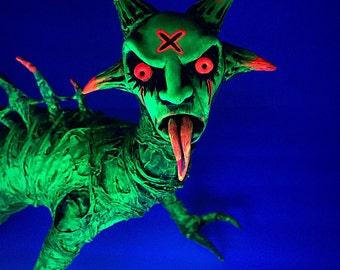 Ooak hand made flourescent death dragon horror art doll