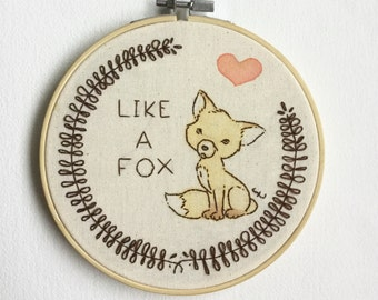 fox embroidery, home decor, fabric art, hand embroidered
