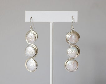 Triple White Coin Pearl Sterling Earring