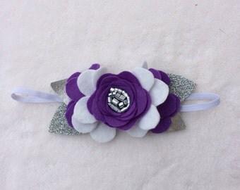 Purple, white and Silver felt flower crown/baby headband/toddler/child headband
