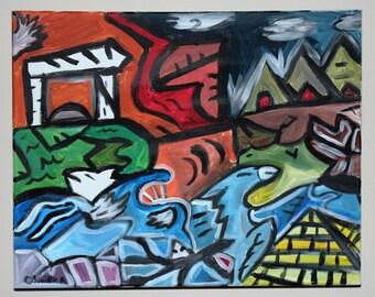 The orginal 16 by 20 inch acrylic canvas