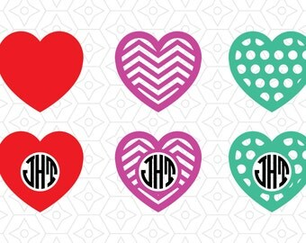 Valentines Heart Monogram Frame Collection, SVG, DXF and AI Vector files for use with Cricut or Silhouette Vinyl Cutting Machines