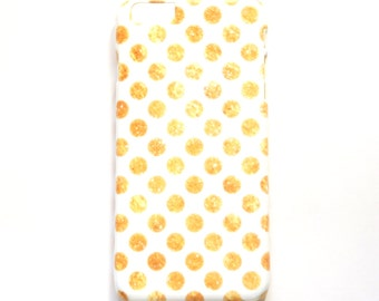 Polka Dot iPhone Case, Gold & White Cell Phone Cover, Also for iPhone 5/5S and iPhone 6 Phone Cover with Gold, Tattered Polka Dot