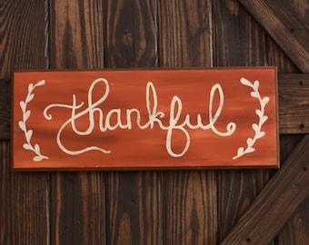 SALE PRICE, Thankful home decor,  Happy Thanksgiving, Rustic Thanksgiving decor, Thankful, Fall decor