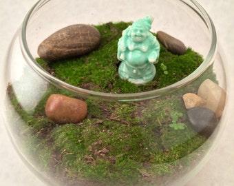Live Moss Terrarium with Buddha Figurine