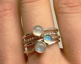 Opal ring, Opal Stacking rings, customizable set,  Sterling Silver gemstone stacking rings