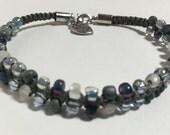 Gray Skies ~ Slim & Simple Beaded Bracelet ~ Macrame ~ Handmade with Love ~ VeRajArt