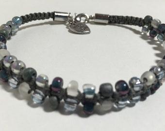 Gray Skies - Slim & Simple Beaded Bracelet - Macrame - Handmade with Love - VeRajArt