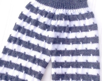 Hand knitted baby dungarees