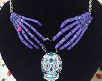 Purple sugar skull necklace
