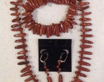 Goldstone 3 Piece Jewelry Set