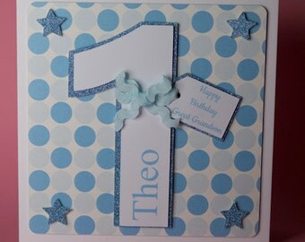 Personalised Handmade Number Birthday card in Pink or Blue