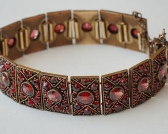 SALE - Antique Victorian Rose Cut Bohemian Garnet Link Bracelet
