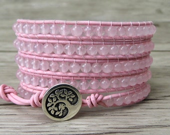 Pink wrap bracelet 5 wraps rose quartz beads wrap bracelet boho leather wrap bracelet yoga beaded bracelet simple tree charm jewelry SL-0211