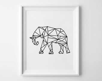 Elephant Print, Wall Art, Printable Poster, Geometric Elephant, Black and White Wall Prints, Geometric Print, Elephant Art, Scandinavian Art