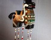 black horse, traditional, Ukrainian, wood, decorative hanging, mobile, art, suncatcher, detailed, painted, hearts, brass, bells, beads, art