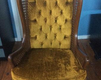 Mid Century Hollywood Regency HighBack Cane/Velvet Wingback Chair