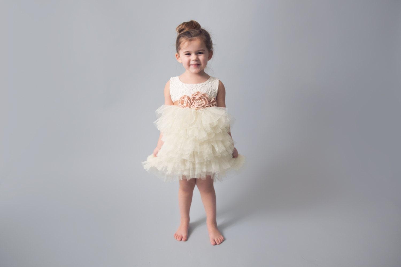 Ivory Lace Flower Girl Dress Cream Tulle Wedding dress