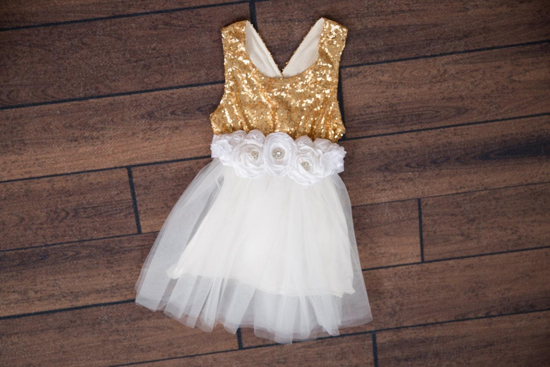 White Tulle Flower Girl Dress Ball Gown Gold sequin dress