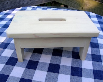 Wooden Stool Stepstool Bench - Cream, Bathroom, Distressed