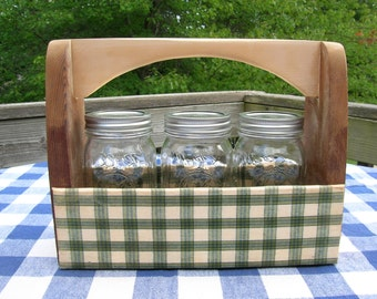Carpenter's Box with Fabric-Covered Sides - Mason Jar Holder - Centerpiece Box - Weddings, Table Decoration
