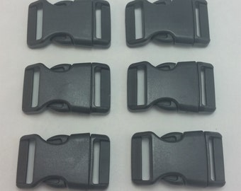 6-12pcs - Standard Black Plastic Side Release Buckles for your Paracord Needs