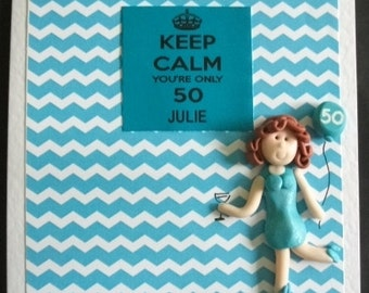 Personalised  50th Birthday card (keep calm) design by Hot Dough creations