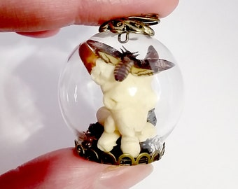 Miniature Replica Bull Skull with Bones and a Deaths Head Hawk Moth in Glass dome Necklace