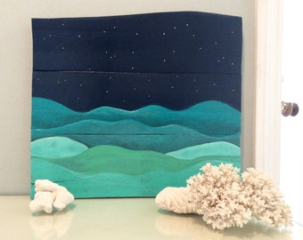 Ocean Painting on Reclaimed Wood Starry Night Ocean Reclaimed Wood Painting Art for Bedroom Nursery Art 18x16 Inches