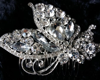 Elegant Bridal Rhinestone Butterfly Decorative Hair Comb