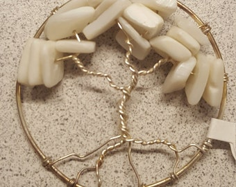 White Coral Tree of Life Wire Wrapped Pendant