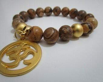 Jasper, Jasper landscape, pendant symbol Om, symbol Buddhist, gift, gift for women, Natural stone bracelet, Yoga bracelet, Meditation