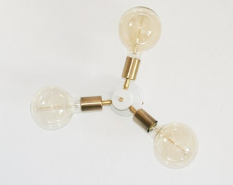 Brass Wall Sconce 3 lights, wall light 3 arms, swag lamp - Lighting Lamp Design