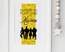 The Wizard Of Oz There's No Place Like Home Yellow Brick Road Quote Print Keepsake Picture Wall Art Gift