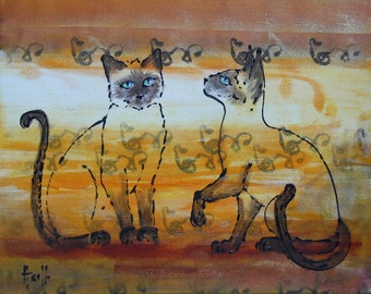 Painting  Siamese cats