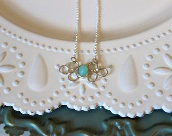 Aqua Chalcedony Bloom necklace
