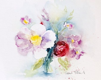 Original watercolor bunch of anemones and roses, Original painting bunch of flowers, mother's day gift