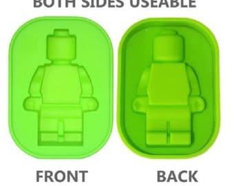 "3.75"" Minifigure Robot Lego Man Ice Tray Silicone Mold - Chocolate - Soap - Fondant Mold - Cake Decorating - SM0045"