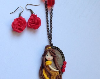 Necklace with disney Princess Belle on mirror necklace dolly princess